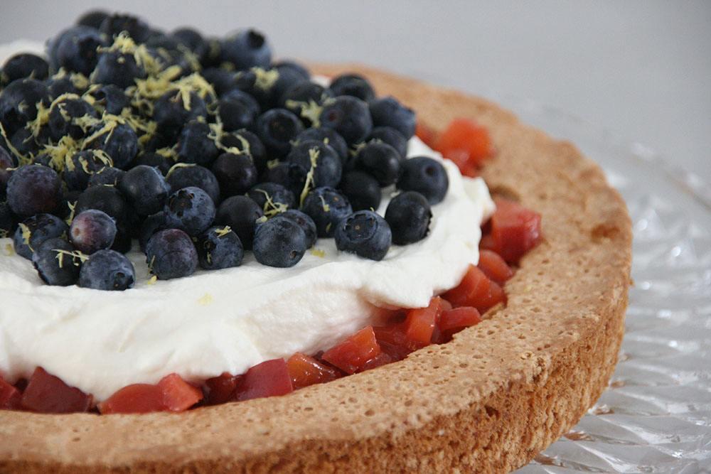 Opskrift på lækker mandelkage med blåbær og nektarinkompot