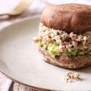 Top lækker portobello burger med tunsalat