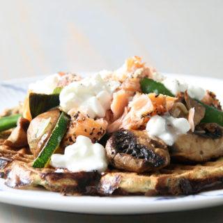 Lækre madvafler med spinat og hytteost
